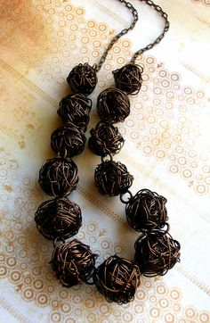 Intentional Chaos  Wire Ball Necklace  Vintaj by JustBeCreative, $43.00
