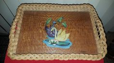 💕VINTAGE KITSCH 1950/60s WICKER/CANE & MELAMINE TRAY - TWO SWANS SCENE  in Collectables, Homeware, Kitchenware, Tableware | eBay!