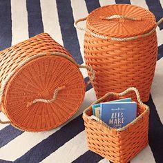 Trendy Rope Bins in Tangerine -Serena & Lily