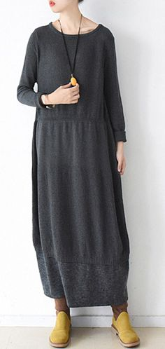 90f057240f Cute Sweater weather plus size o neck baggy dresses dark gray daily knit  dress