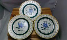 Vintage Stangl Pottery - Garden Flower Bread & Butter Plates - Set of 3