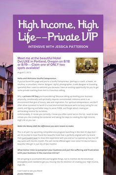 High Income, High Life--Private VIP DAY