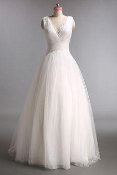 Vestidos de noiva Princesa Pequena igreja Até ao chão Gola em V Cetim