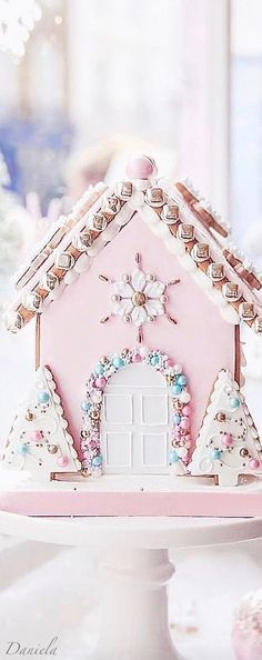 Daniela Daniela Glamfetti Glamfettipartydecor Whimsical Christmas special gifts for her gifts for her romantic gifts for her girlfriends gifts for nbsp hellip gifts expensive Christmas Gingerbread House, Noel Christmas, Pink Christmas, Christmas Colors, Winter Christmas, Vintage Christmas, Christmas Decorations, Christmas Mantles, Gingerbread Houses