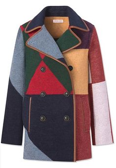 Racing form: Our eye-catching Cheval Peacoat features color-blocking inspired by horse-jockey uniforms. A vibrant way to take cover, this double-breasted design from the runway has leather piping alon