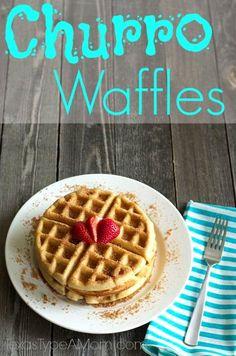 Churro Waffles   http://www.texastypeamom.com/2013/06/churro-waffles-recipe.html#comment-41527