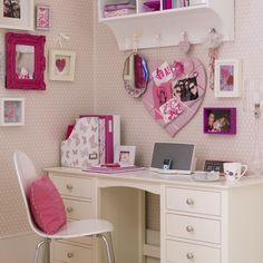Pretty pinks aside, this smart desk area will encourage your daughter to be neat and organised when studying for exams. A shelving unit above the desk will make excellent use of the space and a row of hooks provide a way to hang a handy pinboard for reminders and study schedules.
