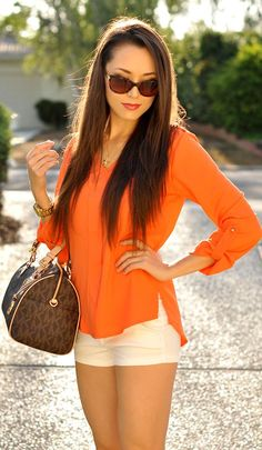 Sheinside Orange Clementine V-Neck Blouse by Hapa Time #michael kors #short #sunglasses