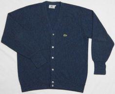 Vtg-80s-Men-IZOD-LACOSTE-Cardigan-Sweater-LARGE-Blue-SOFT-100-Acrylic-Gator-USA