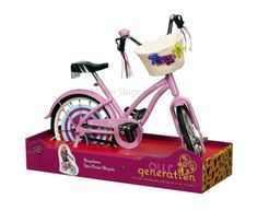 Our Generation Pink Toy Bike w/ Basket Doll Bicycle for Dolls American Girl Cosas American Girl, American Girl Doll Sets, American Doll Stuff, Our Generation Doll Accessories, Our Generation Dolls, Og Dolls, Girl Dolls, Kids Toys For Christmas, Baby Alive Food