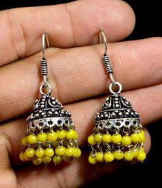 Jhumki Handmade Hook 925 Sterling Silver Plated Designer Earrings Jewelry KED141 #krsnajewels #DropDangle