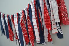 RTS SALE Independance Day Forth of July Fabric by SoVerySplendid Rag Banner Party Decor , $11.50