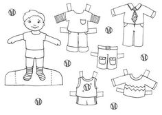 Dibujo colorear boy2 doll - Dibujo de Recortables para imprimir
