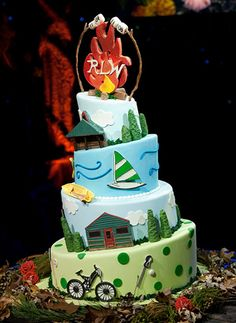 camp cake, cake wrecks, little people, pink cakes, camping, bat mitzvah, camp themes, cake boxes, themed cakes