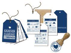We maakten voor Sander en Darine een set trouwkaarten, voor elk onderdeel een eigen label en een stempel met hun eigen logo. www.aagjeontwerp.nl