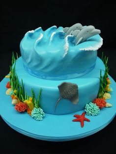 Ocean Inspired Cake Ocean waves with Dolphins Beach Themed Cakes, Beach Cakes, Cupcakes, Cupcake Cakes, Dolphin Cakes, Rodjendanske Torte, Ocean Cakes, Nautical Cake, Mermaid Cakes