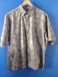 Vintage REYN SPOONER Green Reversed Print Cotton Hawaiian Shirt Size XL #ReynSpooner #Hawaiian
