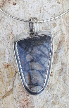 """Veiled Secrets"" Unique Necklace Pendant Natural Ash Black Gray Grey Shimmery Metallic New Mexico Southwest Southwestern Spiderweb Spider Web Stone Rock Similar Look Picasso Marble Handcut Hand Cut Cabochon Brushed Satin Metal Finish Sterling and Fine Silver Simple Minimalist Modern Contemporary Urban City Artsy Industrial Chic Style Fashion Artisan Handmade Joy Anderson Napier; International Joy"
