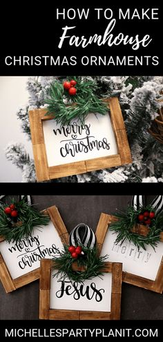 How to Make Farmhouse Christmas Ornaments   Dollar Tree DIY - Michelle's Party Plan-It