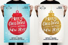 Christmas & New Year Flyer by MrMoustache on @creativemarket