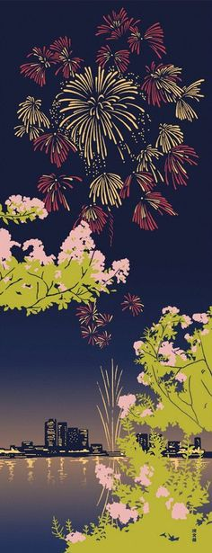 Japanese Tenugui Cotton Fabric, Fireworks Design, Summer Night, Crepe Myrtle Flower, Hand Dyed Fabric, Modern Art Wall , Home Decor, JapanLovelyCrafts