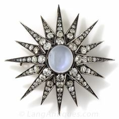 Large Victorian Diamond and Moonstone Pendant and Brooch - 90-1-6505 - Lang Antiques