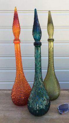 Vintage glass genie bottles