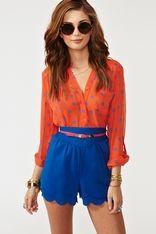 Belted Petal Shorts - Blue