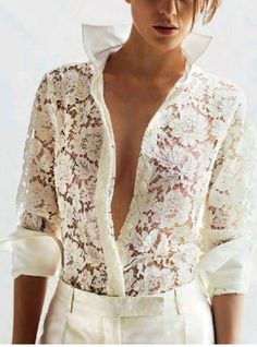 Chic white lace blouse