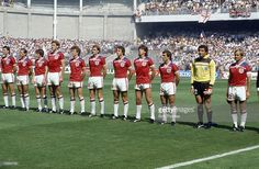 World Cup Finals, Bilbao, Spain, 16th June, 1982, England 3 v France 1, England team line-up left-right, Bryan Robson, Ray Wilkins, Steve Coppell, Terry Butcher, Graham Rix, Phil Thompson, Trevor Francis, Paul Mariner, Kenny Sansom, Peter Shilton, Mick Mills