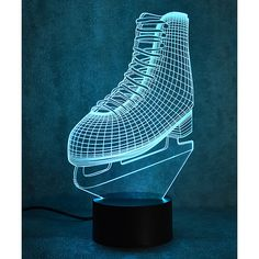 Mercer Ice Skate 3D Optical Illusion Color-Changing LED Lamp (£13) ❤ liked on Polyvore featuring home, lighting, colored lights, colored lamps and plastic lamp