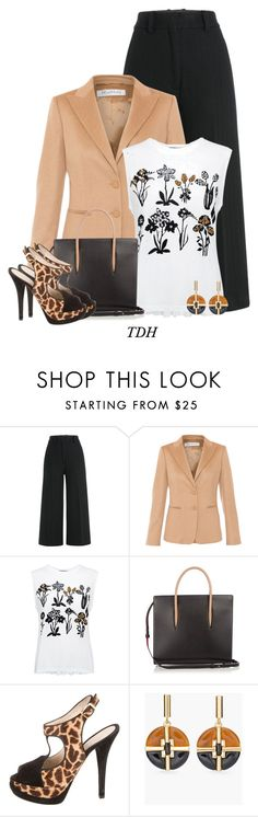 """Fendi Giraffe Print Sandals"" by talvadh ❤ liked on Polyvore featuring Jil Sander, MaxMara, Markus Lupfer, Christian Louboutin, Fendi and Chico's"