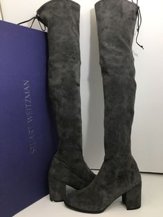 c3d9d3952af These Stuart Weitzman Gray Tieland Women s Over The Knee Heels Suede Otk  Boots Booties Size US 12 Regular (M