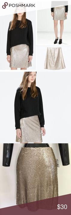 """NWT Zara Pale Liquid Gold Tiny Sequin Mini Skirt Condition: New With Tags // Sold Out Details: high quality with stretch, lightweight, tiny sequin skirt that sparkles intensely.  It's really difficult to capture on camera the true color and sparkle of this skirt.  No missing sequins; in perfect condition. Zipper: invisible back zip Lining: fully lined  Measurements: Waist: 28"""" Length: 19""""   Bundle 2 or more items for 20% discount.     Stop by Fond Objects often.  I have many unique pieces at…"""