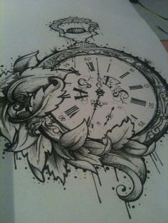 pocket watch tattoo with grandpa and grandma Schmitz's birthday month flowers instead of leaves