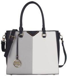 008a510466 UKFS x Gessy Designer Two Tone Leather Styled Tote Shoulder Handbag Bag -  Grey