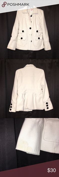 White Pea Coat Winter Jacket White winter pea coat jacket from Bongo. There are a few stains (I included close ups of them). The jacket has black buttons and two front pockets. It's is also dry clean only. BONGO Jackets & Coats Pea Coats