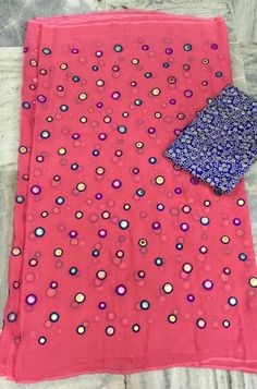 Light peach color Gujari work georget saree with designer blouse.....| online saree shopping | Elegant Fashion Wear