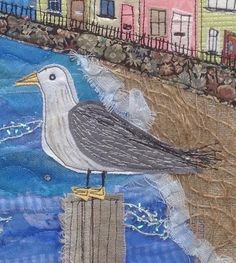 Machine embroidered seagull