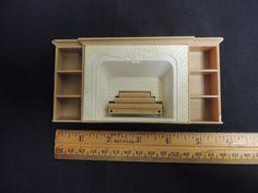 Vintage Plasco Doll House Furniture Fireplace Bookshelf Logs Fire Mantel Plastic #Plasco