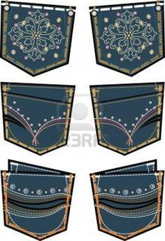 lady fashion jeans back pocket design Stock Vector Clothing Sketches, Fashion Sketches, Gents Kurta, Bling Jeans, Estilo Denim, Denim Art, Patterned Jeans, Rainbow Fashion, Embellished Jeans