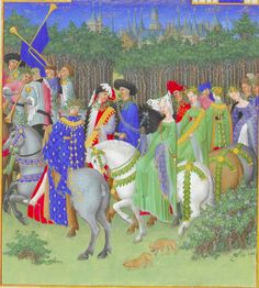 Maying from the Tres Riches Heures. Notice the emphasis on green and the greenery on hats, horses, and hair.