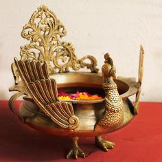 Majestic Brass Peacock Urli or Vessel For Floating Flowers and Candles, Urli Of L 23 cm x Dia 20 cm x Ht 26 cm, Home Decor, Traditional Urli Ethnic Home Decor, Indian Home Decor, Indian Room, Apartment Therapy, Decorative Items, Decorative Bowls, Decorative Mirrors, Silver Pooja Items, Pooja Room Design