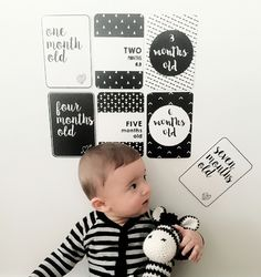 baby milestone cards with cute baby