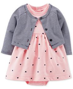 She'll sport a cute look wearing this cozy girls' Carter's French terry bodysuit dress and cardigan set. Baby Outfits, Outfits Niños, Baby Girl Dresses, Toddler Outfits, Kids Outfits, Little Girl Fashion, Kids Fashion, Fashion Shoes, Baby Set