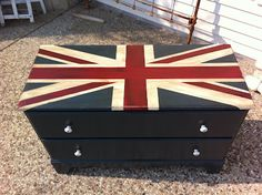 An old dresser made new with a fun flag effect
