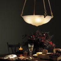 Big bowl shade chandelier with classical motif