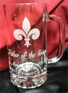 Groomsman beer mugs personalized, http://www.best-engraving.com/FleurDeLis_beer_mug.aspx