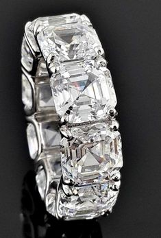A Museum Perfect Asscher Cut Russian Lab Diamond Eternity Ring - August 31 2019 at Luxury Jewelry, Modern Jewelry, Vintage Jewelry, Cz Wedding Bands, Asscher Cut Diamond, Eternity Ring Diamond, Lab Diamonds, Anniversary Bands, Stone Pendants
