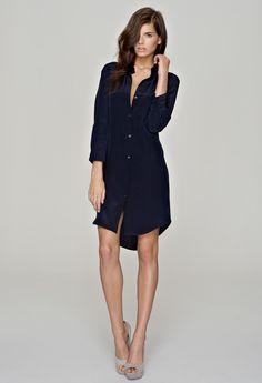 black silk shirt dress, so comfortable and wearable